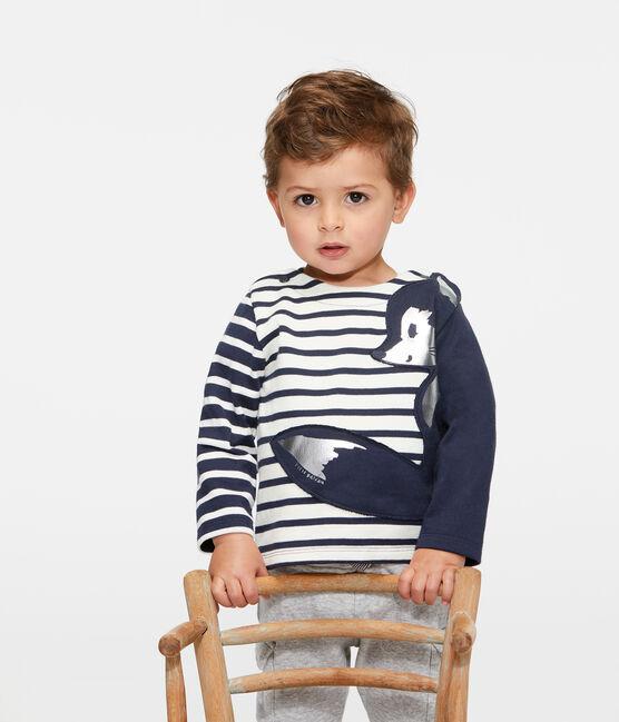 Marinière bébé garçon revisitée beige Coquille / bleu Smoking