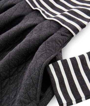 Robe bi-matière manches longues femme noir City / beige Coquille
