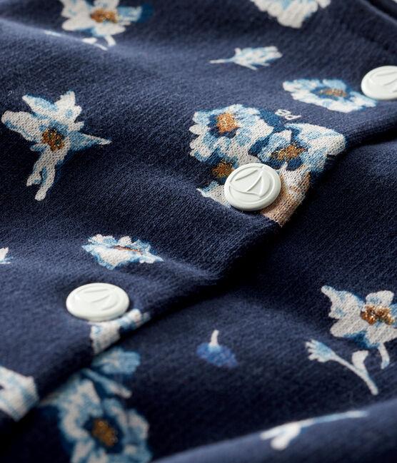 Cardigan bébé fille en molleton imprimé bleu Smoking / blanc Multico