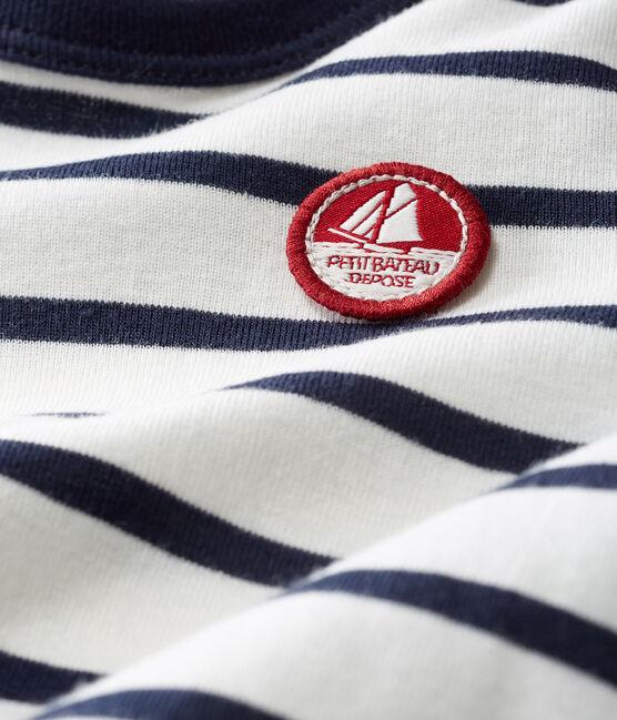 Tee shirt manches longues rayure marinière bébé garçon blanc Marshmallow / bleu Smoking