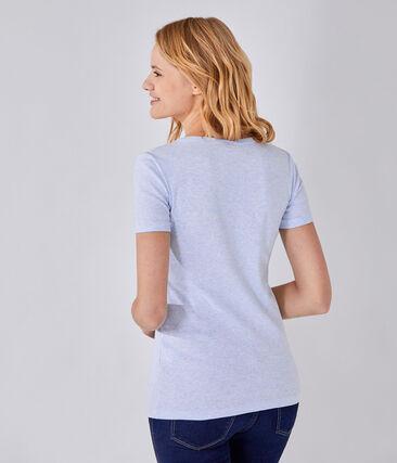 T-shirt femme col V en côte originale bleu Cumulus Chine