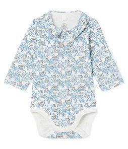 Rompertje voor pasgeborenen lange mouwen babyjongen van gebreide stof wit Marshmallow / blauw Toudou