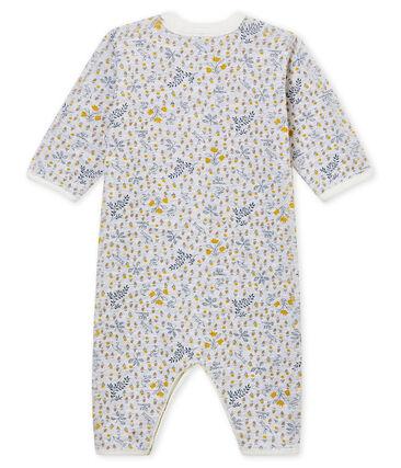 Pyjama zonder voetjes voor babymeisjes in ribsteek grijs Poussiere / wit Multico