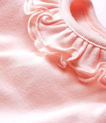 Body lange mouwen met kraagje babymeisje roze Fleur