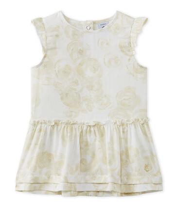 Satijnen jurk met dessin voor babymeisjes