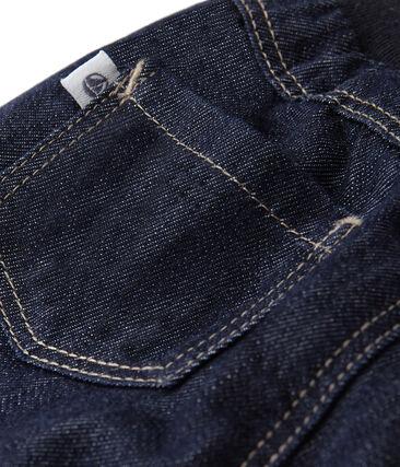 Pantalon bébé en jean doublé bleu Jean