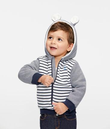 Sweatshirt à capuche bébé garçon en rayure marinière doublé de sherpa blanc Marshmallow / bleu Smoking