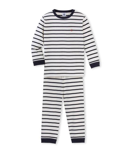 Pyjama garçon rayé beige Coquille / bleu Smoking