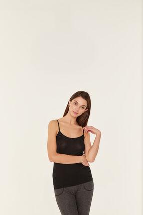 Chemise à bretelles femme en coton léger noir Noir