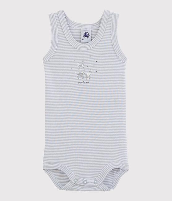 Rompertje zonder mouwen baby meisje grijs Mistigri / wit Ecume