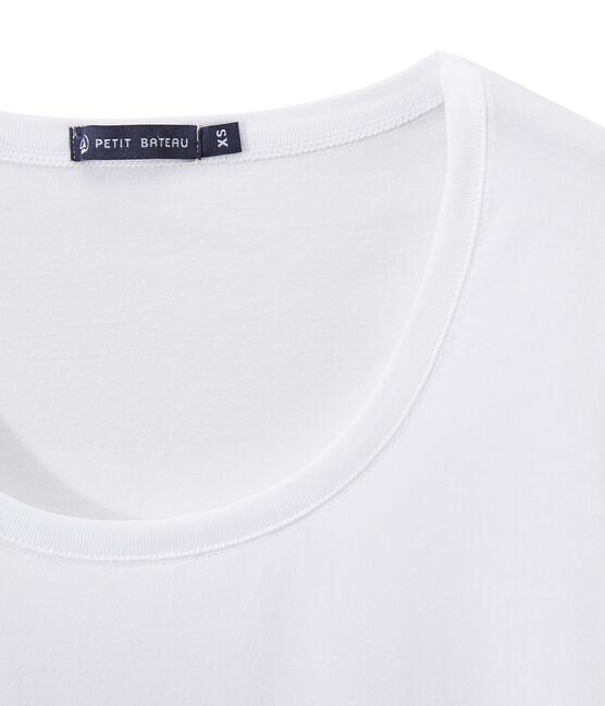 Dames-T-shirt WIJDE HALS uit fijne jersey wit Ecume