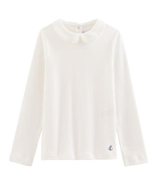 Meisjes t-shirt met claudine kraag wit Marshmallow