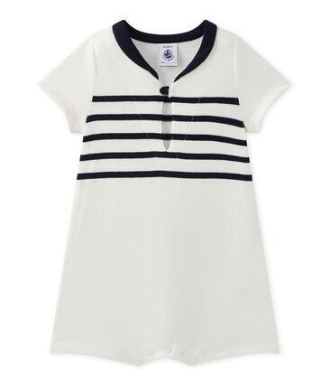 Kort pakje met korte mouwen voor babyjongens wit Marshmallow / blauw Smoking