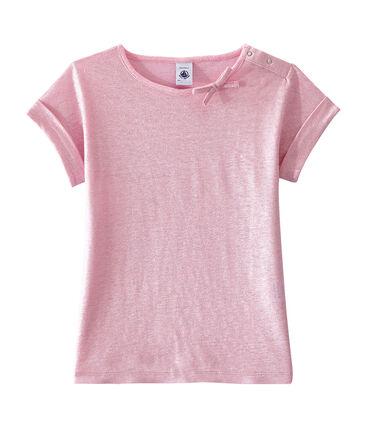Tee-shirt enfant fille rose Babylone / gris Argent