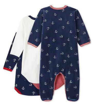 Ensemble bébé garçon dors bien en velours et bodies manches longues en côte lot .