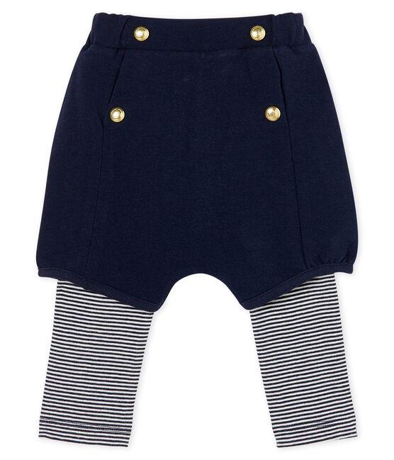 Legging met kort broekje babymeisje blauw Smoking / wit Marshmallow