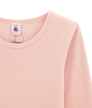 tee-shirt manches longues petite fille en laine et coton rose Joli