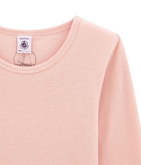 Meisjes tee-shirtmet lange mouwen in wol/katoen roze Joli
