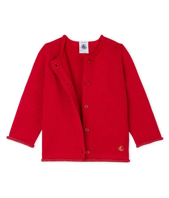 Cardigan essentiel bébé fille en tricot laine et coton rouge Terkuit