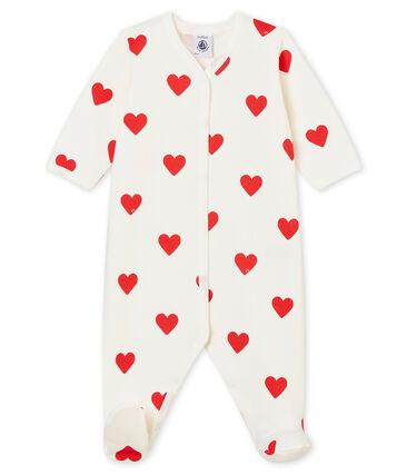 Dors Bien bébé fille-garçon en molleton blanc Marshmallow / rouge Terkuit
