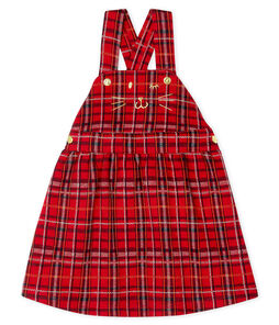 Robe salopette à carreaux bébé fille rouge Terkuit / blanc Multico