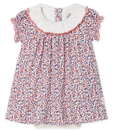 Robe body imprimée bébé fille blanc Marshmallow / rouge Terkuit