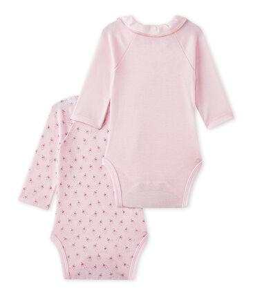 Set van 2 eerste body's met lange mouwen voor babymeisjes