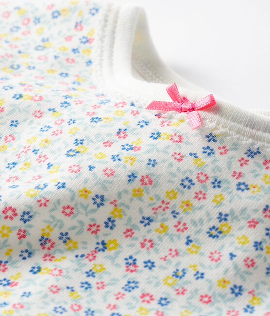 Dors bien bébé fille en côte blanc Marshmallow / blanc Multico