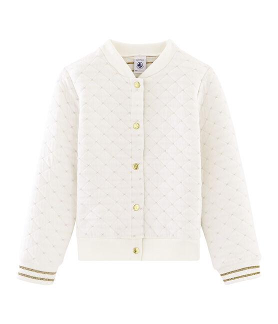 Cardigan van gewatteerde tubic meisjes wit Marshmallow