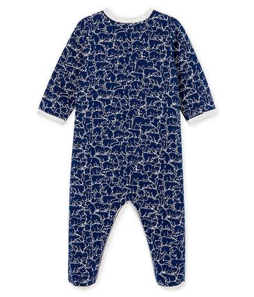 Slaappakje van molton babyjongen blauw Major / wit Marshmallow
