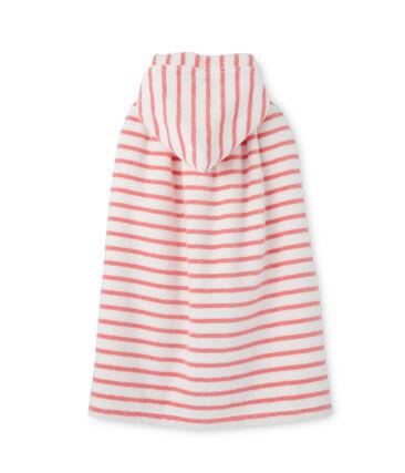 Badcape in bouclébadstof met strepen wit Lait / roze Merveille