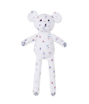 Doudou bébé ourson imprimé blanc Ecume / bleu Delft