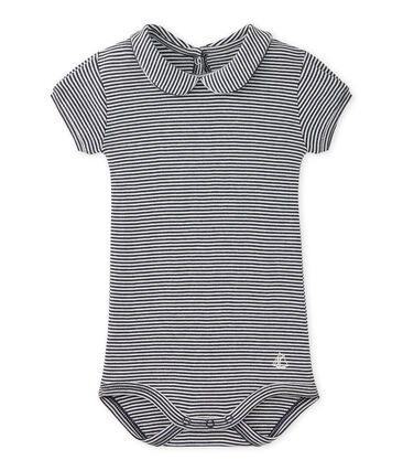 Gestreepte body met kraag voor babymeisjes