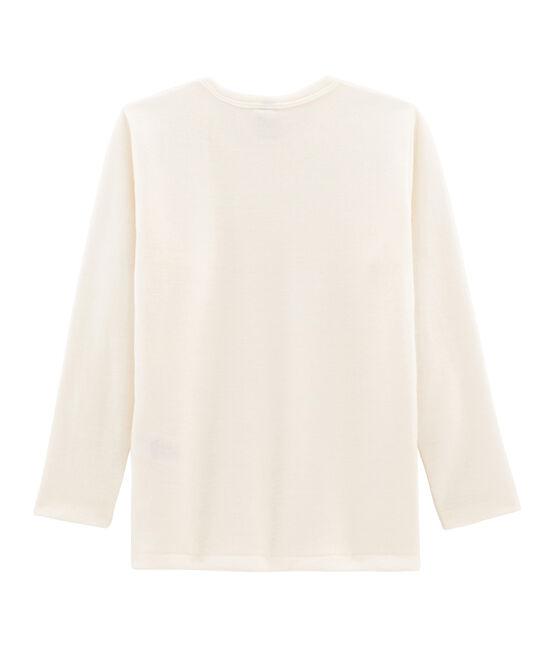 Tee-shirt manches longues enfant en laine et coton beige Ecru