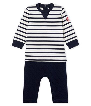 Combinaison longue bébé garçon faux deux-pièces blanc Marshmallow / bleu Smoking