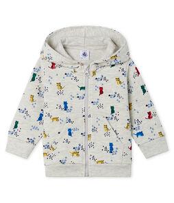 Sweatshirt à capuche bébé garçon en molleton imprimé gris Beluga / blanc Multico