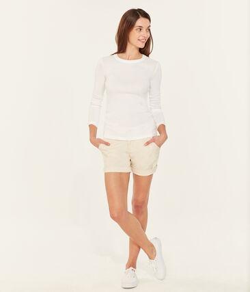 Tee shirt femme iconique en manche longues blanc Ecume