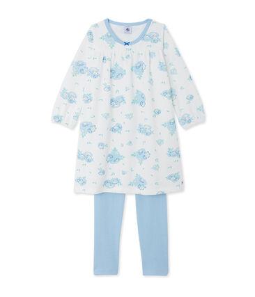 Fluwelen nachthemd met print en legging wit Lait / blauw Bleu
