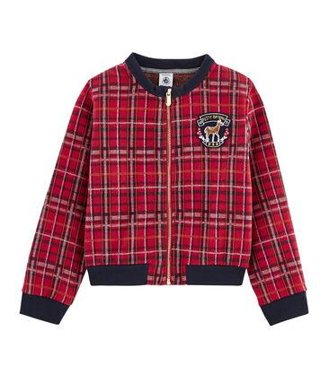 Teddy van mesh met Schotse ruit meisjes rood Terkuit / wit Multico