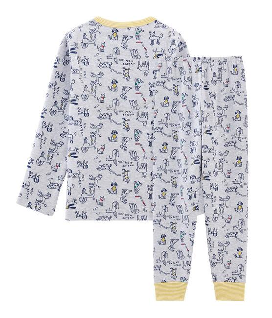 Jongenspyjama van gebreide stof grijs Beluga / wit Multico