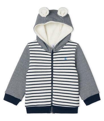 Sweatshirt met capuchon en marinestreep, met sherpa voering, voor babyjongens wit Marshmallow / blauw Smoking