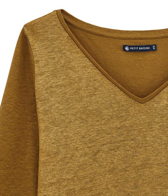 dames tee-shirtmet lange mouwen bruin Brindille / geel Dore