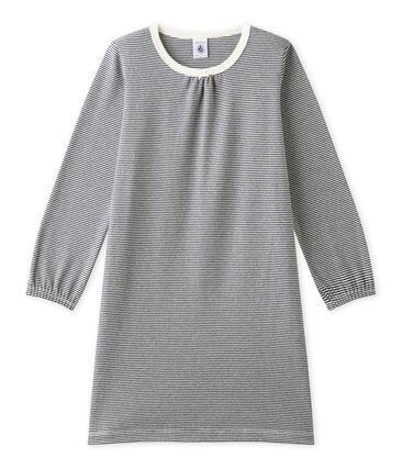 Chemise de nuit fille en milleraies bleu Smoking / beige Coquille