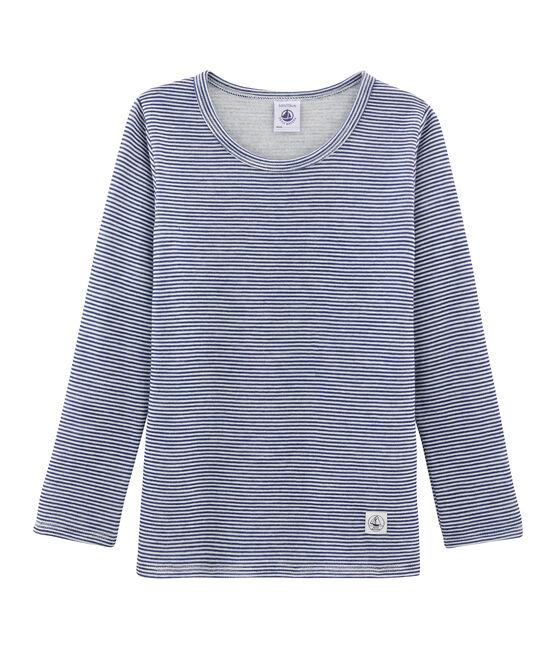 Tee-shirt manches longues enfant en laine et coton bleu Medieval / blanc Marshmallow