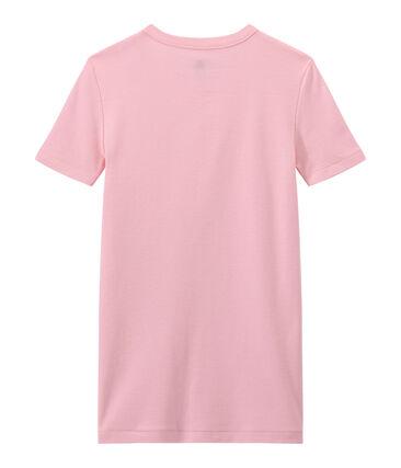 T-shirt femme en côte originale rose Babylone