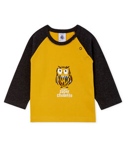 T-shirt met lange mouwen babyjongen geel Boudor / zwart City
