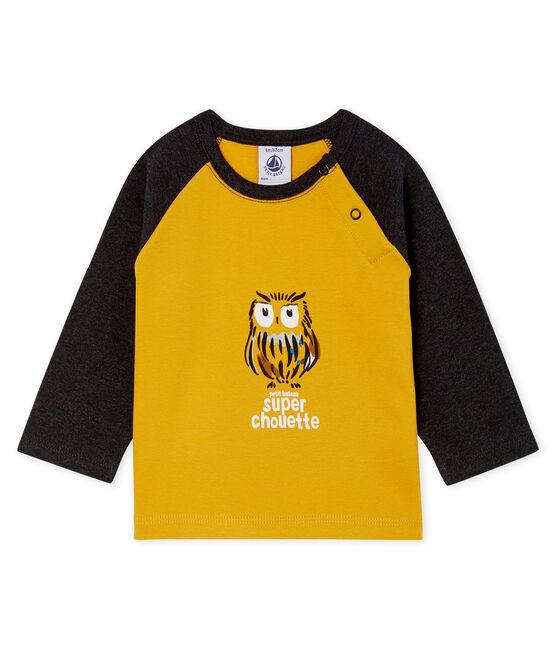 Tee shirt manches longues bébé garçon jaune Boudor / noir City