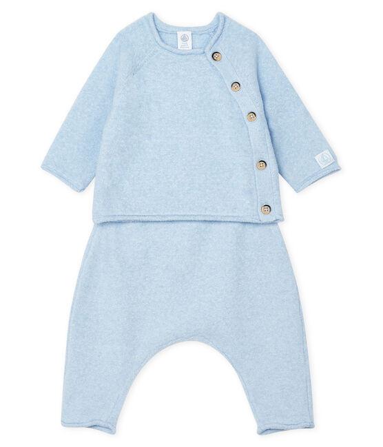Set van twee babykleertjes, van katoen, merinowol en polyester blauw Toudou