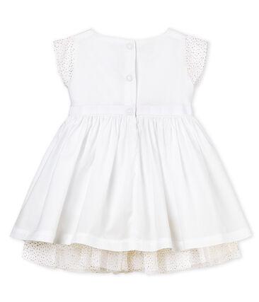 Robe manches courtes de cérémonie bébé fille blanc Ecume
