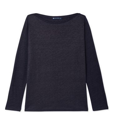 Dames T-shirt met lange mouwen in gelakt linnen blauw Smoking / blauw Brillant